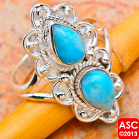 RARE LARIMAR 925 STERLING SILVER RING SIZE 9 1/4 JEWELRY