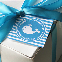 Whale Birthday Favor Tag Gift Tag Printable by EllisonReed