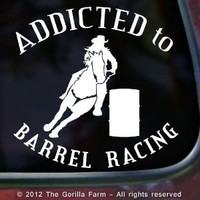 ADDICTED TO BARREL RACING Vinyl Decal Bumper Sticker Horse Car Laptop Window Trailer Sign WHITE