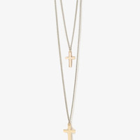 Layered Cross Charm Necklace