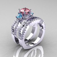 Modern French 14K White Gold Three Stone Peach and Blue Topaz Diamond Engagement Ring Wedding Band Set R140S-14KWGDBPT