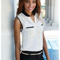 SLEEVELESS IVORY AND BLACK CHIFFON TOP