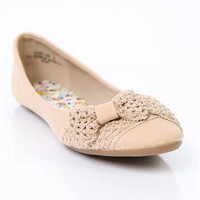 ballet flat with crochet bow - 1000050955 - debshops.com