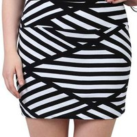 plus size bodycon skirt with black and white asymmetrical stripe  - 1000049432 - debshops.com