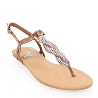 flat sandal with twisted stone thong - 1000044448 - debshops.com