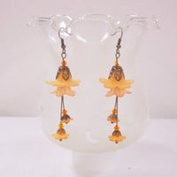 Brass Tangerine lucite flower earrings with sun swarovski bicones | SilverGriffonDesigns - Jewelry on ArtFire