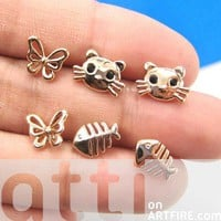 Kitty Cat Fish Bone and Butterfly Shaped Stud Earring 6 Piece Set