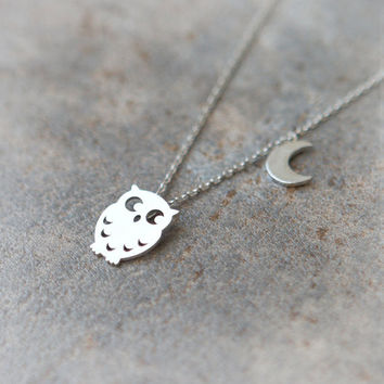 Owl and Moon Necklace in silver by laonato on Etsy