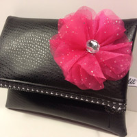 Black Fold Over Clutch w/Houndstooth  Zipper w/Flower