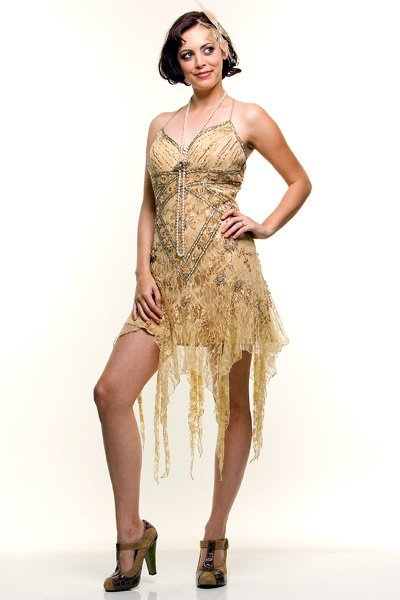 Flapper Dress Gold Lace 20's Style Mini from Unique Vintage | My