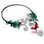 Open Front Choker Black Wire Torc Necklace Red Lampwork Butterflies