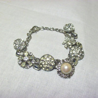 Vintage Rhinestone Button Bracelet