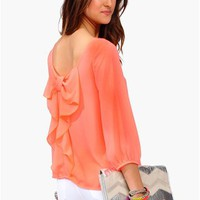 Waldorf Bow Blouse - Neon Coral at Necessary Clothing