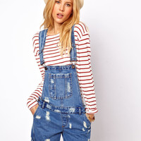 ASOS Denim Dungaree Shorts in Ripped Vintage Wash