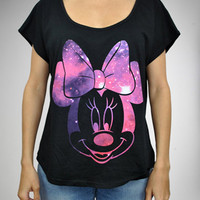 Galaxy Minnie Mouse Junior Fitted Scoop Neck Tee