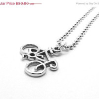 Mothers Day Sale Bicycle Necklace, Unisex, Sterling Silver