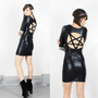 All Pent UP - Black Wet Look BodyCon Short Sleeved Pentagram Cut-Out Back Dress MADE-To-ORDER