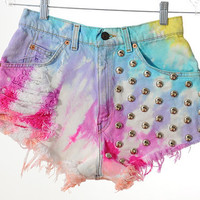 Vintage Levis RAINBOW Tie Dye STUDDED Destroyed Denim High Waist Shorts M