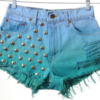 Vintage LEVIS Ombre Two Tone Dip Dyed Denim High Waist CUT OFF Shorts S