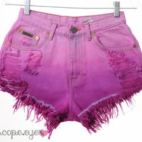 Vintage Calvin Klein OMBRE Dip Dyed Denim HIGH WAIST Cut Off Shorts S