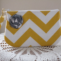 Bridal Wedding Bridesmaid Wristlet Zipper Gadget Pouch Purse Yellow and White Chevron with Flower Accent