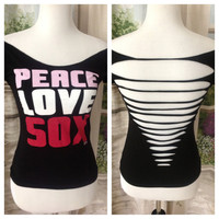 Peace Love Sox Weaved Upcycled T-shirt