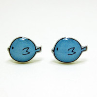 Blue Bird Earrings Sterling Silver Posts Studs by TheTinyFig