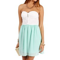 Ivory/Mint Sweetheart Lace Chiffon Tunic