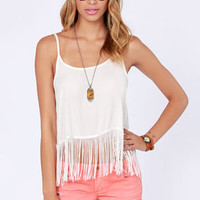 Pardon My Fringe Ivory Fringe Top