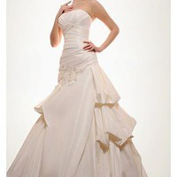 [249.99] Exquisite Satin A-line Strapless Asymmetrical Waist Draped Pick-up Beaded Wedding Dress - Dressilyme.com
