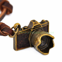 Ancient bronze camera pendant leather necklace for men or women pendant  necklace chain necklace jewelry pendant necklace  d-338