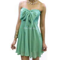 Isabella Bow Top Chiffon Mint Dress