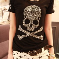 [5758-Short Style] Black Color with Shinning Rhinestones Skull Pattern T-Shirt