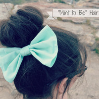 Big Mint Hair Bow