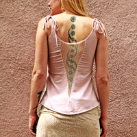 Romantic Women Top with Lace back, Open back top