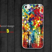 iphone 5 cases  Rubber case  painting rain and tree Hard caseiphone 4 case iphone 5 cover the best iphone case unique design