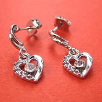 ONE DOLLAR SALE - Diamond Heart Earrings with Rhinestone Detail