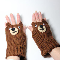 Bear fingerless gloves, animal fingerless mittens, brown crochet gloves