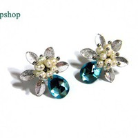 Hawaiian aqua blue stud earrings qpshop
