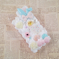 Clear iPhone 4/4s Case Mint Blue and Pink Pastel Kawaii Decoden Phone Case Sweets Deco Rabbit Bow Music Notes Cabochon Pearls Snap on Case