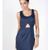 Blue Faux Denim Cutout Sleeveless Dress