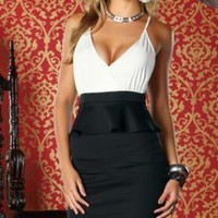 White & Black Peplum Mini Dress with Criss Cross Back