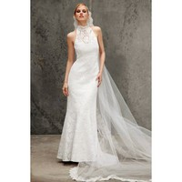 High Collar Satin Lace Wedding Dress
