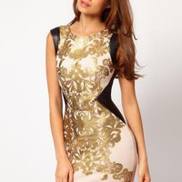 Starry Foil Printed Bodycon bandage  Dress