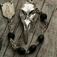 Raven Skull Rosary in Sterling Silver Blue Bayer Design NYC