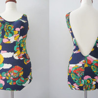 70s Deadstock Blue Floral Swimsuit, L // Vintage Car Print Playsuit // 1970s NOS Bathing Suit