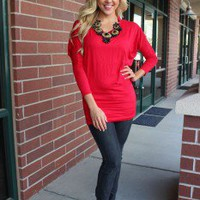 Red Solid Slouchy Dolman Sleeve Top
