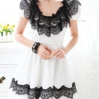 Fashion hot sell black lace white chiffon lady dress_Long dresses_Dresses_Mili fashion Trade Co.Ltd