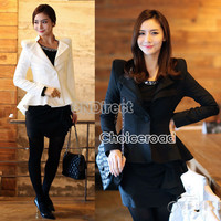 New Womens Casual Slim Shrug One Button Swallow Tail Black Jacket Coat Suit