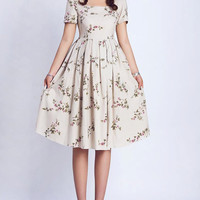 Floral linen Midi Pleated Dress (0139)